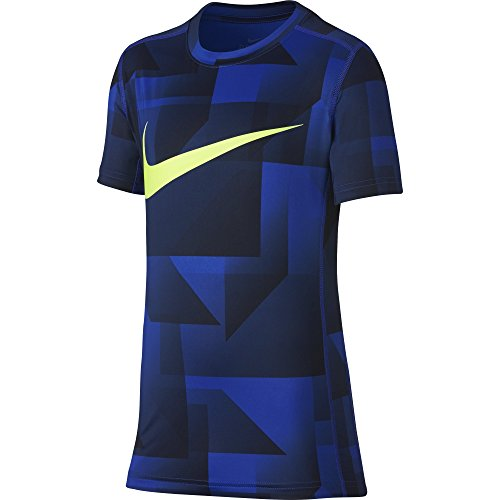 Short Sleeve Training Top (NIKE Boys' Short Sleeve All Over Print Training Top, Hyper Royal, Large)