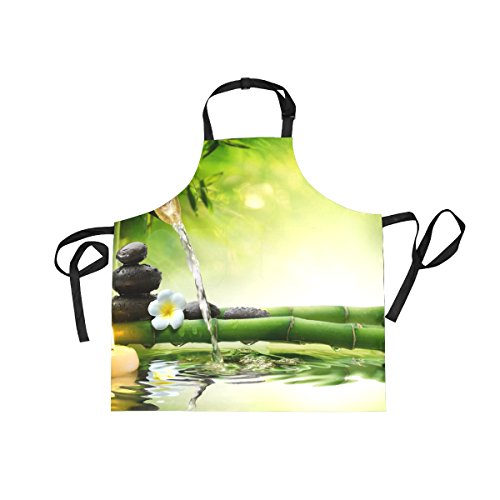 LORVIES Spa Stones Apron Unisex Kitchen Bib Apron with 2 Pockets Adjustable Neck for Cooking Baking Gardening for Women Men Chef by LORVIES