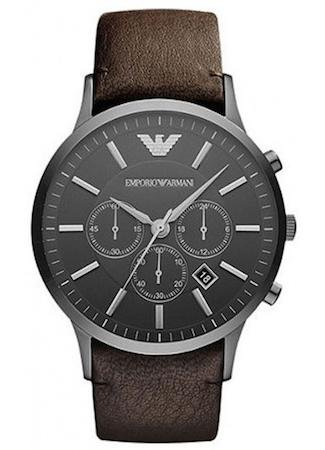New Emporio Armani Sportivo AR2462 Mens Grey Watch Brown Leather Strap