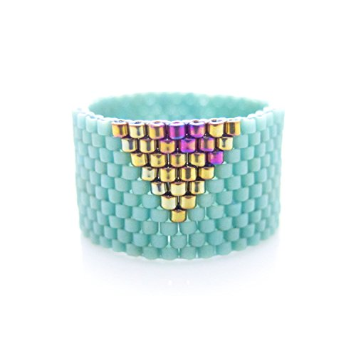 Beaded Mint Ring, Mint Triangle Ring, Gold Triangle Ring, Dreadlock (Cleopatra Ring Band)