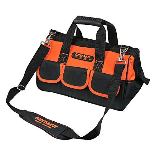 Peterpoint 15 Inch 24 Pocket Wide Mouth Tool Bag with Belt Storage Bag Water Proof Utility Multi-Functional Electrician & Carpenters for Metals Maintenance Black Orange with Adjustable Shoulder Strap ()
