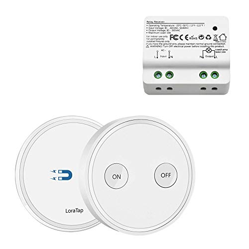 LoraTap Wireless Lights Switch Kit, 915MHz 656ft Range Remote Control Lamps Ceiling Light Fan Household Appliances, 5 Years Warranty (Switch and Receiver) ()