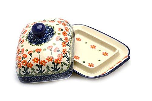 Polish Pottery Butter Dish - Peach Spring Daisy