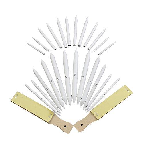 ROSENICE 12pcs Blending Stumps and Tortillions Set with 2pcs Sandpaper Pencil Sharpener for Student Sketch Drawing
