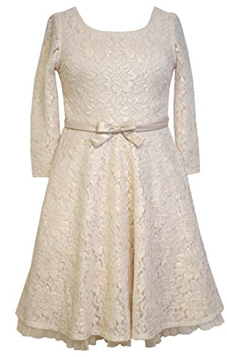 Big Girls Tween Gold Foil Lace 3/4 Sleeve Fit and Flare Dress, X4-TG16-HOL15, Bonnie Jean, Gold, 16