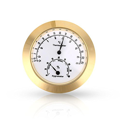 Dilwe Round Thermometer Hygrometer, Humidity Temperature Meter for Violin Guitar Case Instrument Care(Gold)