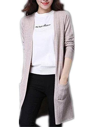 Tasche Giacca Outwear Forcella Moda Abbigliamento Elegante Pullover Relaxed Donne Primaverile Giubotto Casual Maglia Maniche Aperto Puro Beige Con A Lunghe Squisito Autunno Coat Colore HnqHTr