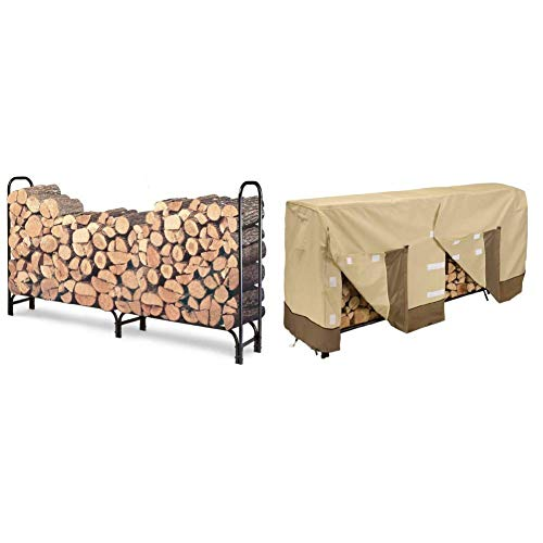 Landmann 82433 8-Foot Firewood Log Rack w/ Classic Accessories Veranda Cover (Classic Accessories Veranda Log Rack Cover 8 Feet)