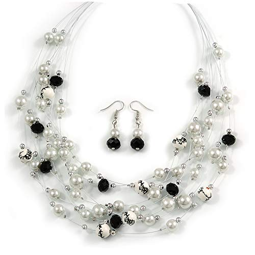Avalaya Romantic Multistrand Layered Beaded Necklace and Drop Earrings Set (White, Black) - 50cm L/ 4cm ()