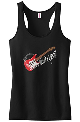 Threadrock Women's Electric Guitar Racerback Tank Top S Black