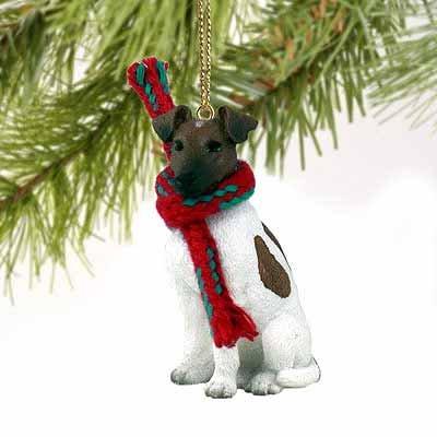 Fox Terrier Miniature Dog Ornament - Brownn & White