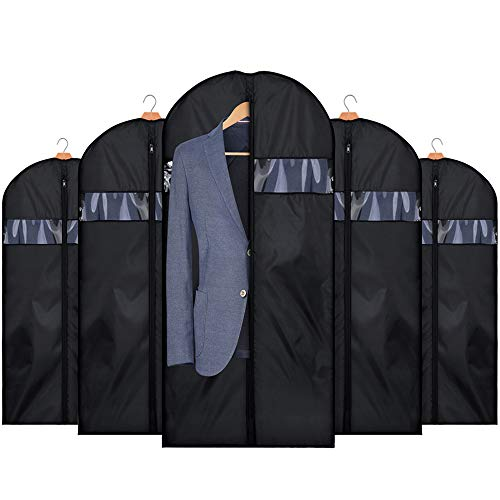 (HOUSE DAY Garment Bags for Storage 5 Pack 42 inch Garment Bags for Travel Foldable Storage Bags Suit Covers for Closet,Washable Garment Suit Cover for Dresses,Suits,Coats)