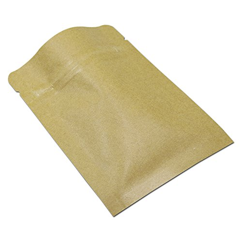 100Pcs Zip Lock Kraft Paper Mylar Foil Bag Resealable Smell Proof Food Grade Packaging Pouch Flat Heat Seal with Tear Notch Reusable (2.4x3.1 inch)