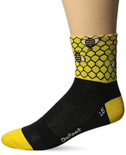 DEFEET AIRBEE201 Bee Aware Socks, Medium, Black/Bright Gold