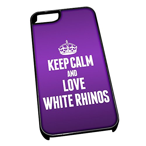 Cover per iPhone 5/5S Nero 2502, Viola Keep Calm And Love Bianco, Rinoceronte