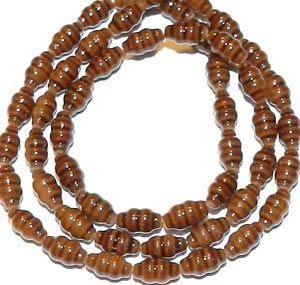 Steven_store G2453 Brown Fluted Tapered Oval 8mm Glass Spacer Beads 16