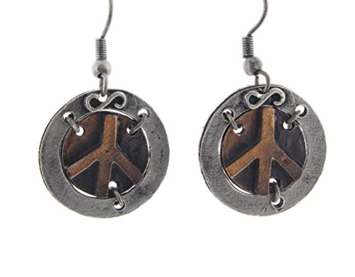 Pewter Peace Sign - Anju Two-Tone Bronze & Pewter Dangle Earrings (Peace Sign)