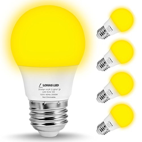 LOHAS Yellow LED Bug Light Bulbs, A15 LED Bulb, 40W Equivalent E26 Edison Bulb(5W), 450 Lumens Porch Lights Non-Dimmable, Warm White LEDs for Home Lighting Decorative Outdoor Indoor Lamps(4 Pack) - Yellow Bug Light Bulb