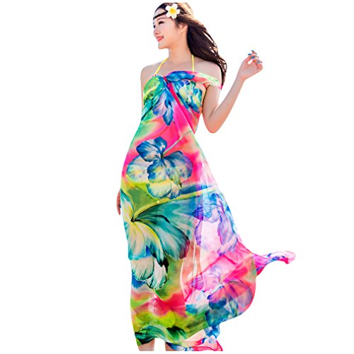 Silk Chiffon Dress Set (GERINLY Chiffon Sarong Wrap: Fresh Zephyranthes Print Oversize Beach Cover Up (Rose))