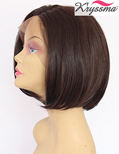 K'ryssma Best Synthetic Hair Short Bob Wig For Women Summber Style Chocolate Brown Glueless Lace Front Wigs Side Part Heat Resistant 10 (Best Synthetic Wigs)