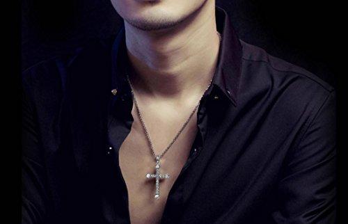 XYXY Bijoux en argent 925 Croix collier pendentifs colliers amoureux pour hommes et femmes (envoyer la paire de bracelet)