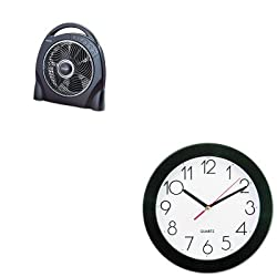 KITHLSHAPF624RUCUNV10421 - Value Kit - Holmes 12amp;quot; Oscillating Floor Fan w/Remote (HLSHAPF624RUC) and Universal Round Wall Clock (UNV10421)