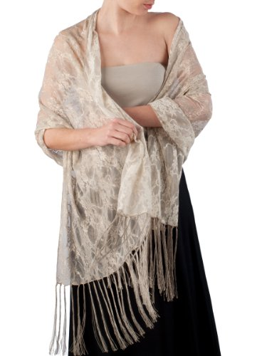 Elizabetta Italian Venetian Lace Evening Formal Scarf Shawl Wrap, Nude Beige
