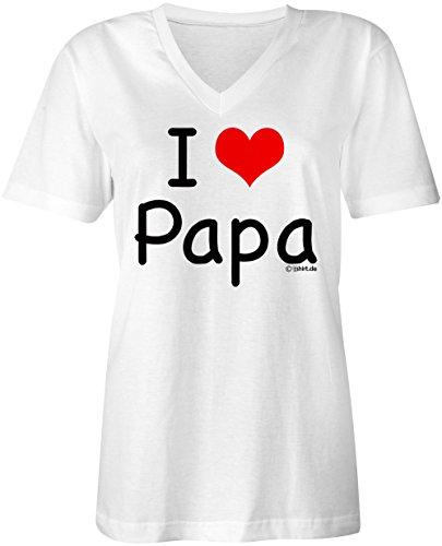 I Love Papa ★ V-Neck T-Shirt Frauen-Damen ★ hochwertig bedruckt mit lustigem Spruch ★ Die perfekte Geschenk-Idee