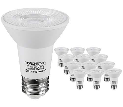 TORCHSTAR 12-Pack PAR20 LED Light Bulb, Dimmable 8W 50W Eqv. High CRI90+, Damp Location, 5000K Daylight, E26 Base, Energy Star & UL Listed Spotlight, 3 Year Warranty