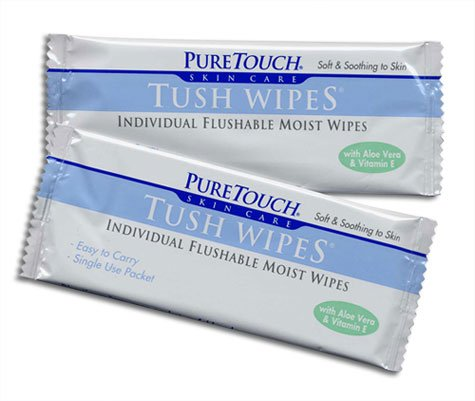 - PureTouch Tush Wipes for adults Individual Flushable Moist Wipes BULK 350 Single-Use-Packets