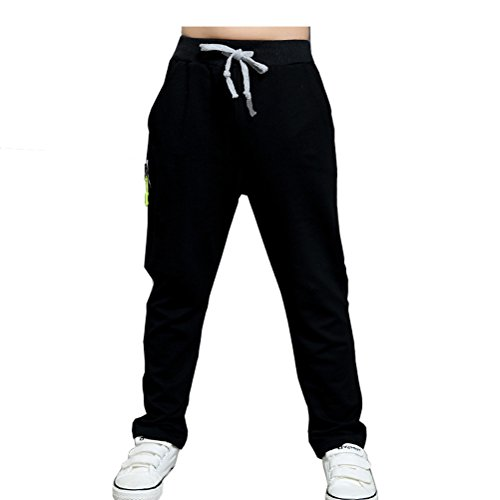Storeofbaby Big Boys' Pull on Black Jogger Pant, 11-12 Years (Joggers For Boys 11)
