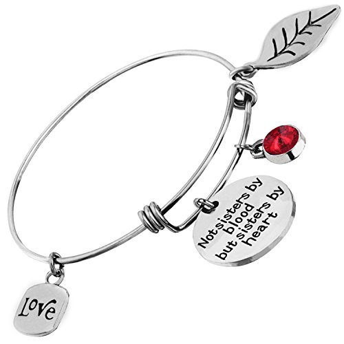 Best Friend Bracelet for Women Sister Jewelry Not Sisters By Blood But Sisters By Heart Birthstone Expandable Bangle Birthday Gift - Easy January Crafts