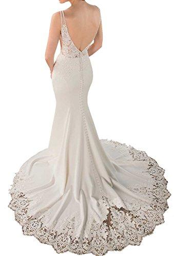 V Weiß Hochzeitskleider Ausschnitt Brautkleider Meerjungfrau R¨¹ckenfrei Lang Damen Spitze Changjie Brautkleid 5gWqvv