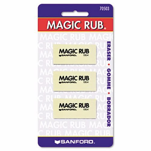 Prismacolor Magic Rub Eraser - Lead Pencil Eraser - Non-marring, Non-smudge, Smear Resistant - Vinyl - 3/Pack - White