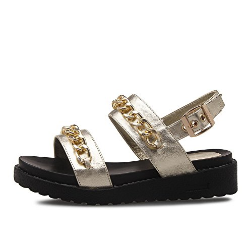 AmoonyFashion Womens Buckle Split-Toe No-Heel Cow Leather Solid Sandals Gold ymwXnM