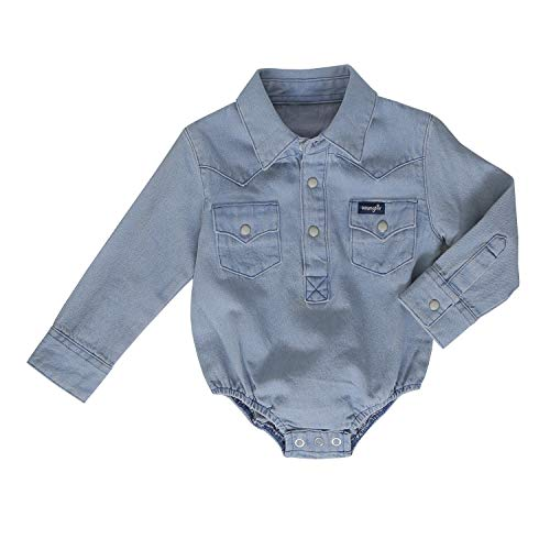 Wrangler Baby Boys Long Sleeve Denim Bodysuit, Faded Blue, 0-3 ()