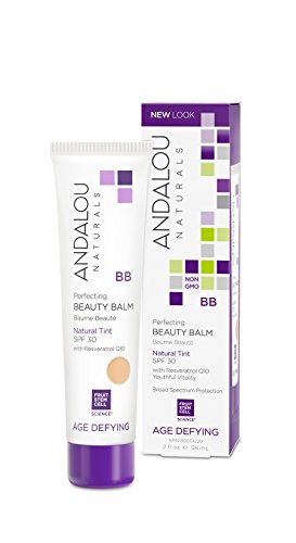 Andalou Naturals Perfecting BB Beauty Balm, Natural Tint, SPF 30, 2 oz, For Dry Skin, Fine Lines & Wrinkles, Helps Smooth & Even Skin Tone
