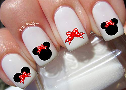 Minnie Mouse Red Bow Water Nail Art Transfers Stickers Decals - Set of -