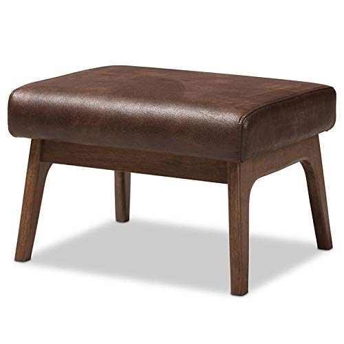 (Baxton Studio Bianca Faux Leather Ottoman in Brown and Walnut Brown)