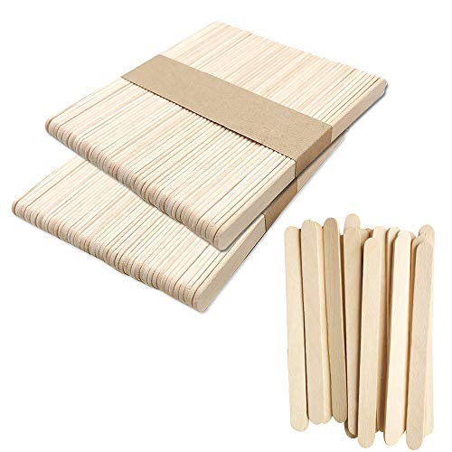 (Popsicle Sticks 100Pcs Natural Wooden Craft Sticks 4.4 Inch Length Ice Cream Sticks DIY Ice Pop Sticks)
