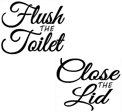 """Printed On Clear Adhesive Vinyl, No Background - Flush The Toilet & Close The Lid - (2 Pack) 6"""" X 5"""" Funny Fun Learning Educational Bathroom Washroom Transparent Vinyl Sticker Decal Label"""