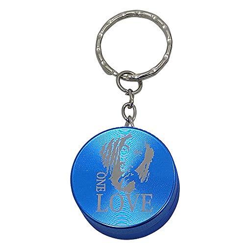 Blue Bob Marley Logo Mini 2-Piece Aluminum Keychain Spice & Herb Grinder from Smoke Promos Bob Marley Smoke Herb