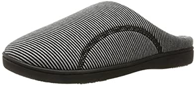Isotoner Women's Striped Jersey Athena Hoodback Slippers, Black, Large/8.5-9 M US