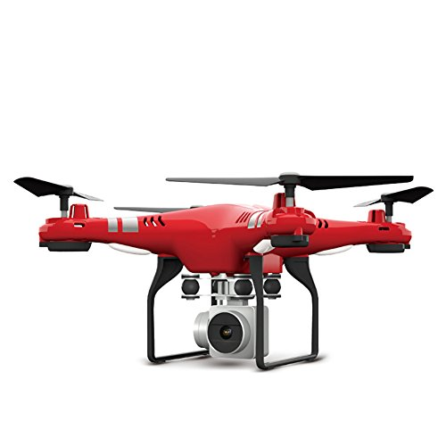 CoolWas WiFi FPV Quadcopter with 2MP HD Camera, SH5HD RC Drone Toy Altitude Hold Headless Mode Include 2 Batteries(Red)