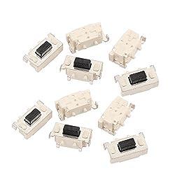 uxcell 10Pcs 2 Pin Square 3mmx6mm Self-Locking DPDT Mini Push Button Switch