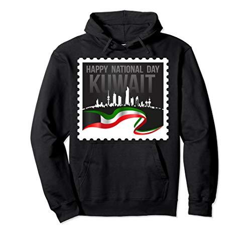 Stylish Design Of Kuwait Postage Stamp In Black Pullover Hoodie