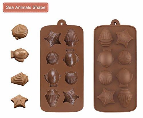 Moldes de silicona para dulces chocolate - Joyoldelf Set de 4 moldes para tarta de dulces de jalea cubitos de hielo - flores, peces y animales de mar, ...