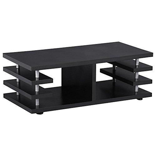 Yaheetech Modern Black Wood Coffee Table Multi Tier Design
