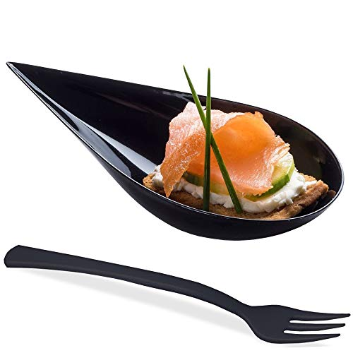 DLux 100 4-in Tear Drop Mini Appetizer Plates with Forks, Black Plastic Spoons - Desserts and Appetizers Dishes Serving Plate - Disposable Asian Spoon Set, Small Catering Dessert Tasting Cups
