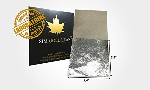 Premium Genuine Silver Leaf Sheets, Professional Quality, 10 Sheets, 2,4 inches (Loose Leaf/Interleaf Sheets) 100% Edible Silver (10) (Silver Edible Sheets)